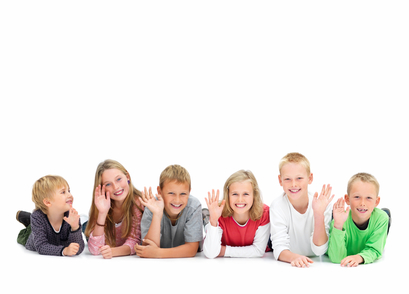 Young kids waving and lying on floor
